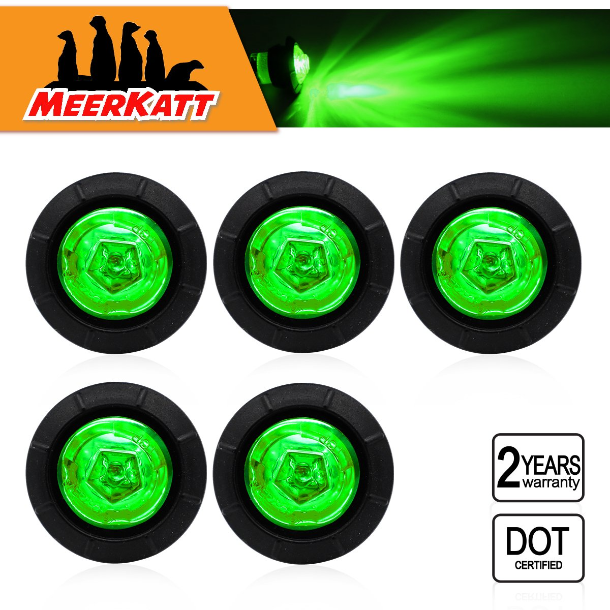 Meerkatt 3//4 inch Round White LED Clearance Side Marker Indicators Lights Universal Button Flush Mount Lamps Waterproof RV Marine Jeep Lorry Truck Trailer 12V DC include Rubber Grommets Pack of 5
