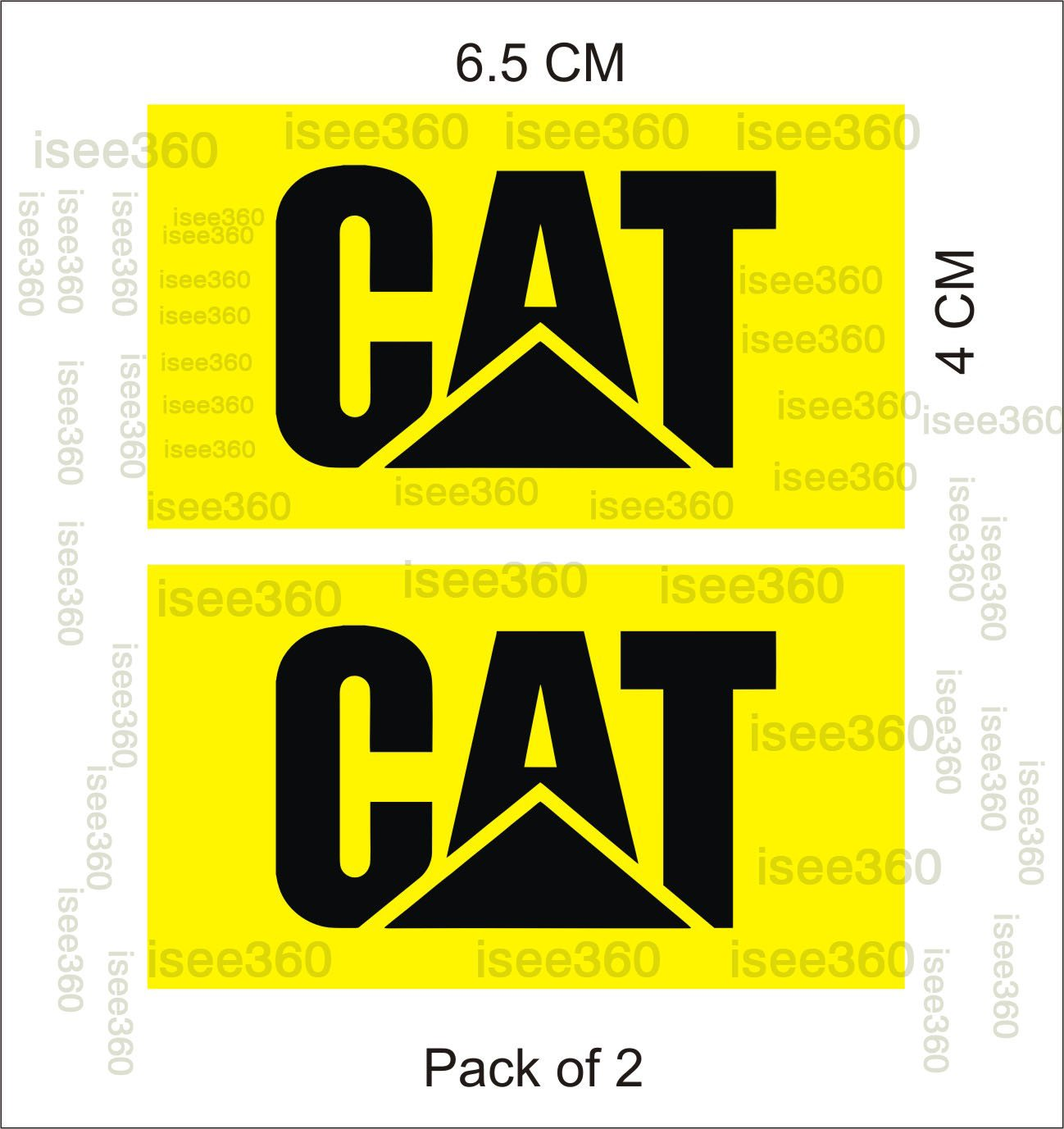 Isee 360 water resistance die cut vinyl decal cat logo sticker for handle bar disc box bike chaise visor mudguard car yellow small pack of 2