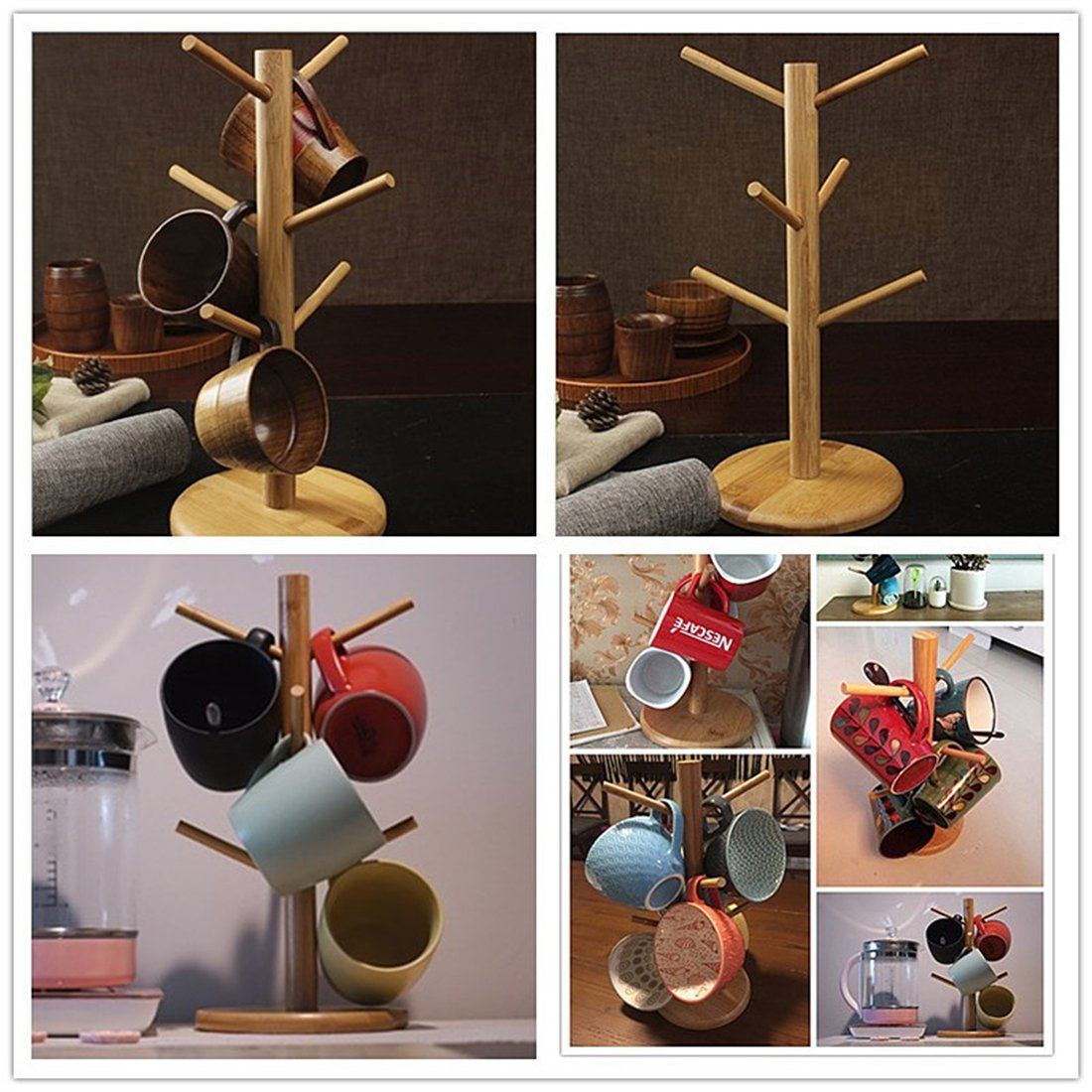 Ahyuan Bamboo Mug Rack Tree Coffee Tea Cup Organizer Hanger Holder with 6 Hooks Removable Bamboo Mug Stand AHBAMUGRACK06R