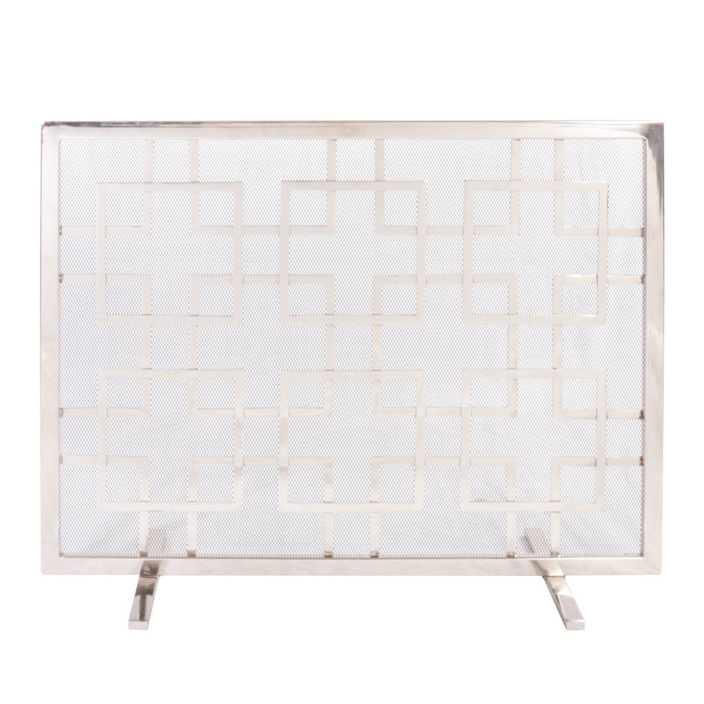 Dibor Mirrored Finish Geometric Mosaic Fire Screen Spark Protector - W84cm