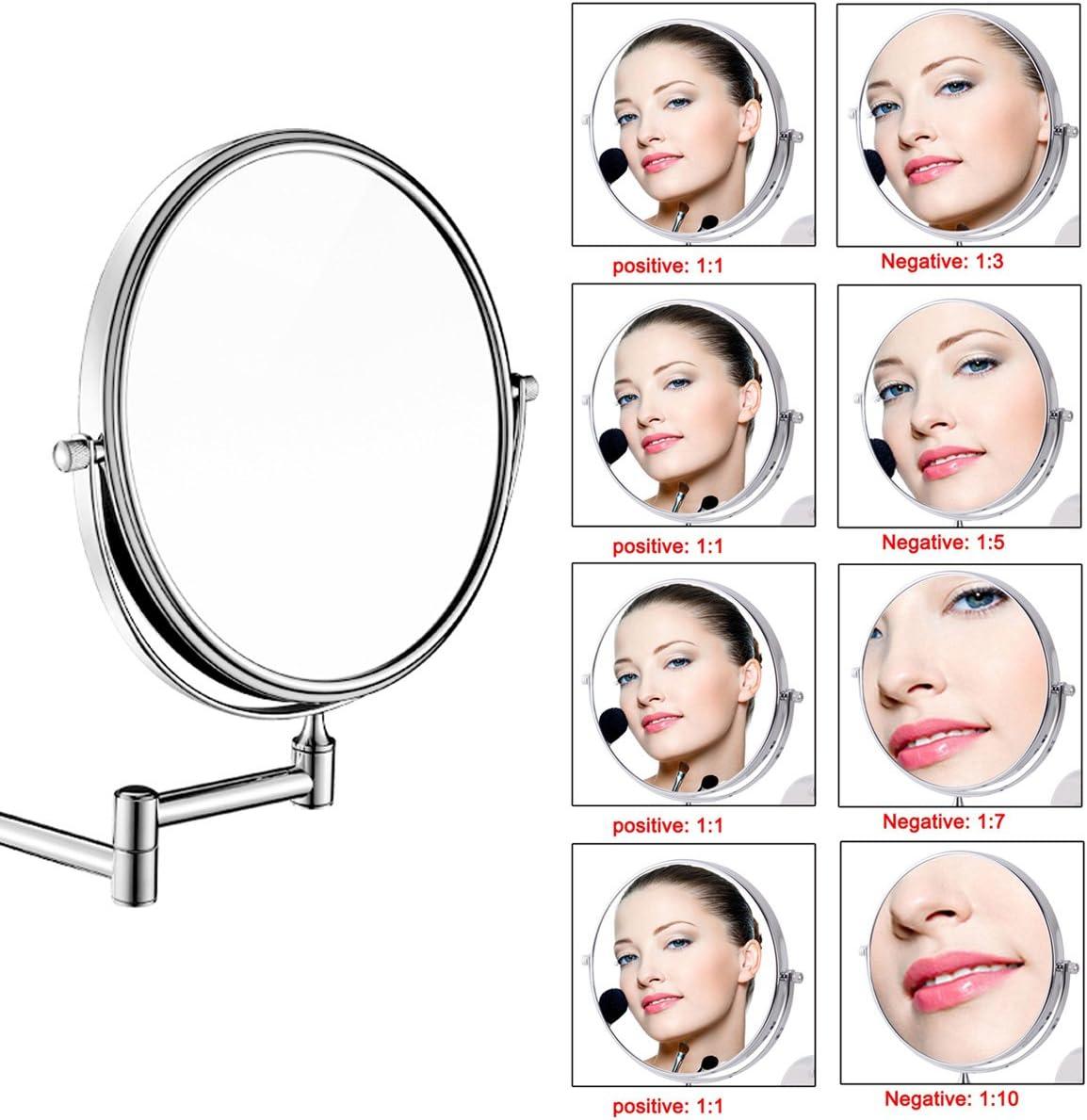 Uniquebella Schminkspiegel 7x Vergr/ö/ßerung Wandhalterung Spiegel 8 Zoll zweiseitig Vanity Kosmetikspiegel
