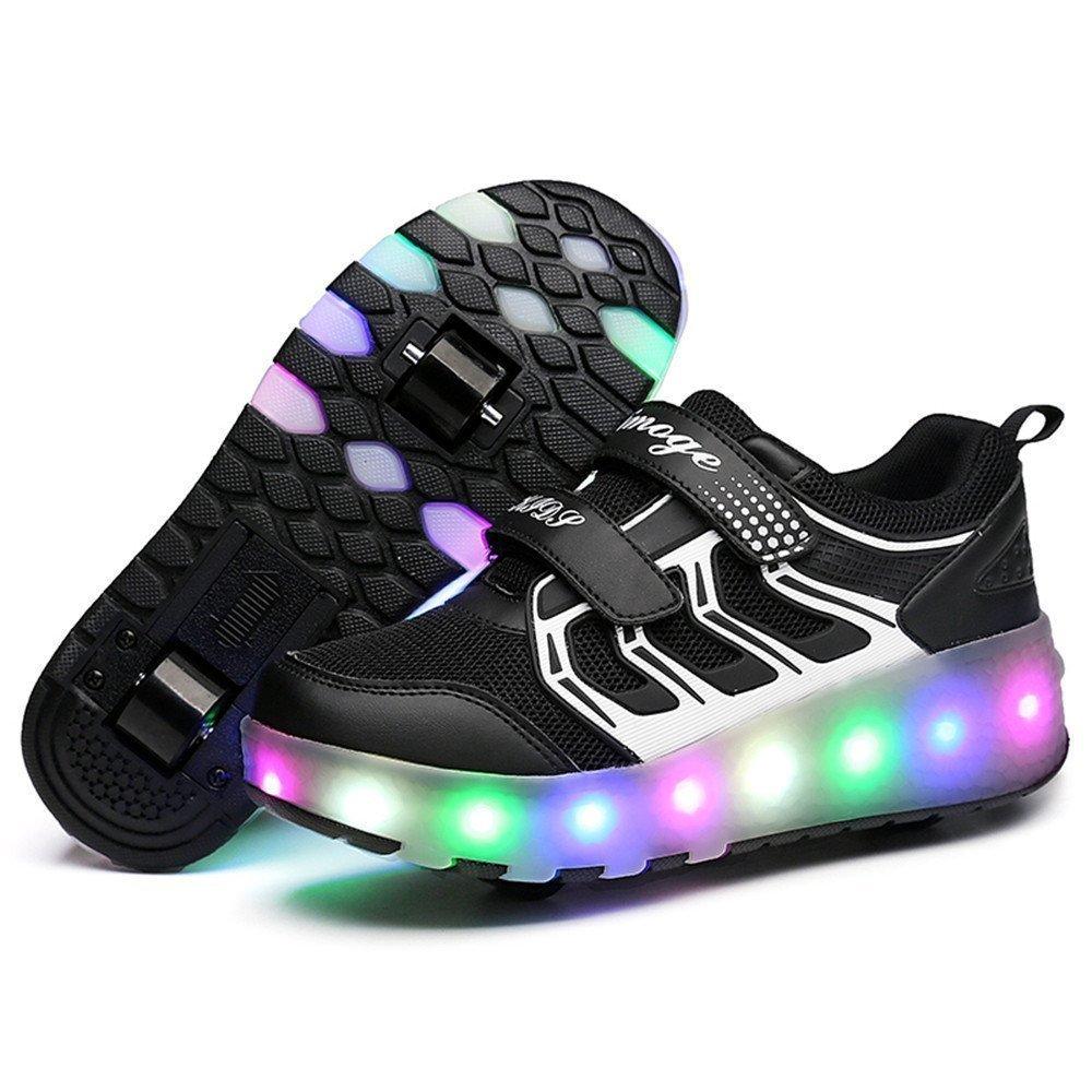 LED Light Up Single/Double Wheel Roller Skate Shoes for Boys Girls Kid(Black 2 wheel 37 M EU/4.5 M US Big Kid)