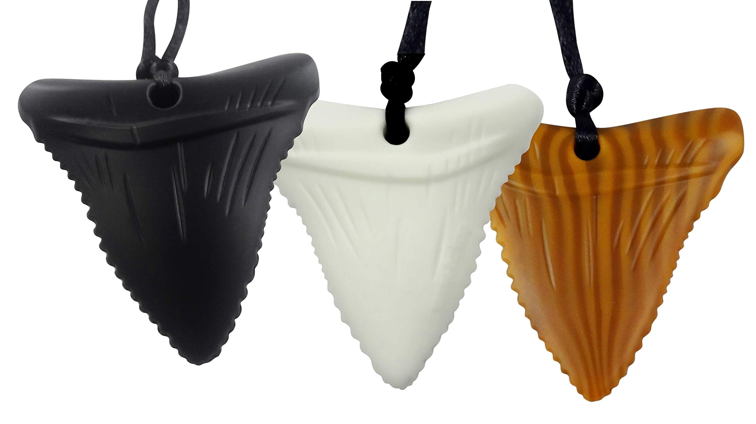 Mommy's Touch 3-Pack Shark Tooth Silicone Chew - Gender Neutral Teething Necklace for Children - Oral Sensory Chewy Teether Necklaces for Autistic Chewers - Chewelry for Boys and Girls by Mommy's Touch