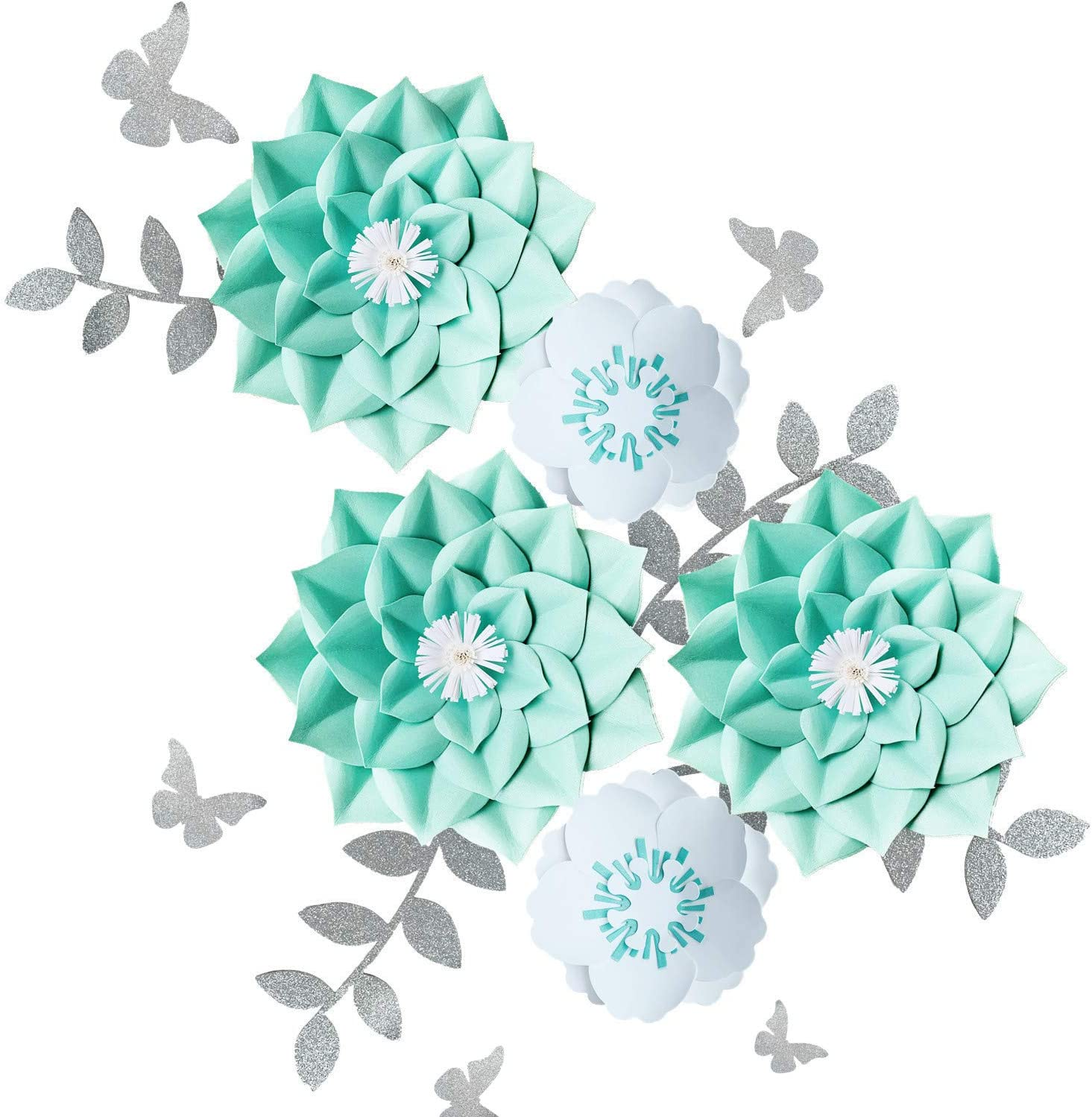 Fonder Mols 3D Paper Flower Decorations(Set of 5, Dahlia, Teal & White) for Wall Backdrop, Teal Bridal Shower Decorations, Teal Nursery Decor, Teal Wedding Centerpiece, NO DIY