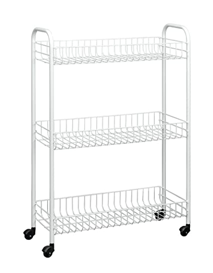 Metaltex USA Inc. Slim Rolling Cart, White, 3 Tier