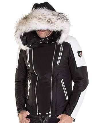 586ff4f7f1a8 BLZ Jeans - Veste Blouson Multi-zippes Noir Blanc à Capuche Fausse Fourrure   Amazon.fr  Vêtements et accessoires