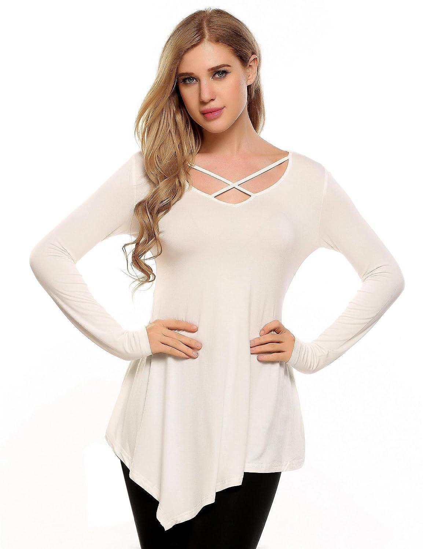 65d56c05fc48 Amazon.com  Mofavor Women s Criss Cross Front Tunic Tops V Neck Long ...