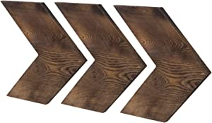 MyGift Set of 3 Decorative Wall-Mounted Rustic Dark Brown Wood Chevrons
