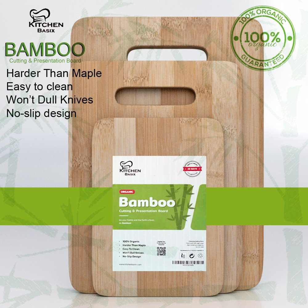 Bamboo Cutting Board 3 Piece Set, Made From Premium 100% Organic And Safe Antibacterial Wood, Newest Non-Stick Design, FDA Approved And BPA Free Kitchen Chopper Reversible Stand. Kitchen Basix by Kitchen Basix (Image #6)