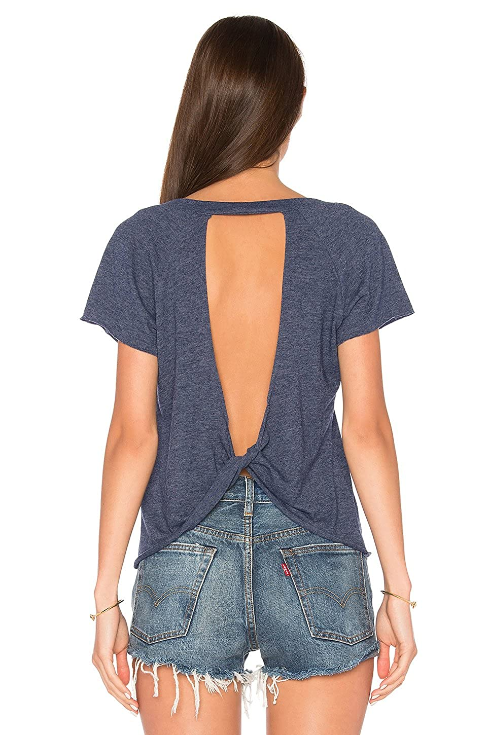 Blooming Jelly Women's Short Sleeve Open Back Shirt Backless Knotted Workout Top