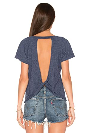 aa59dadedfcd9 Blooming Jelly Women s Sexy Backless Short Sleeve Top Back Knot Casual Shirt  Tee(S)