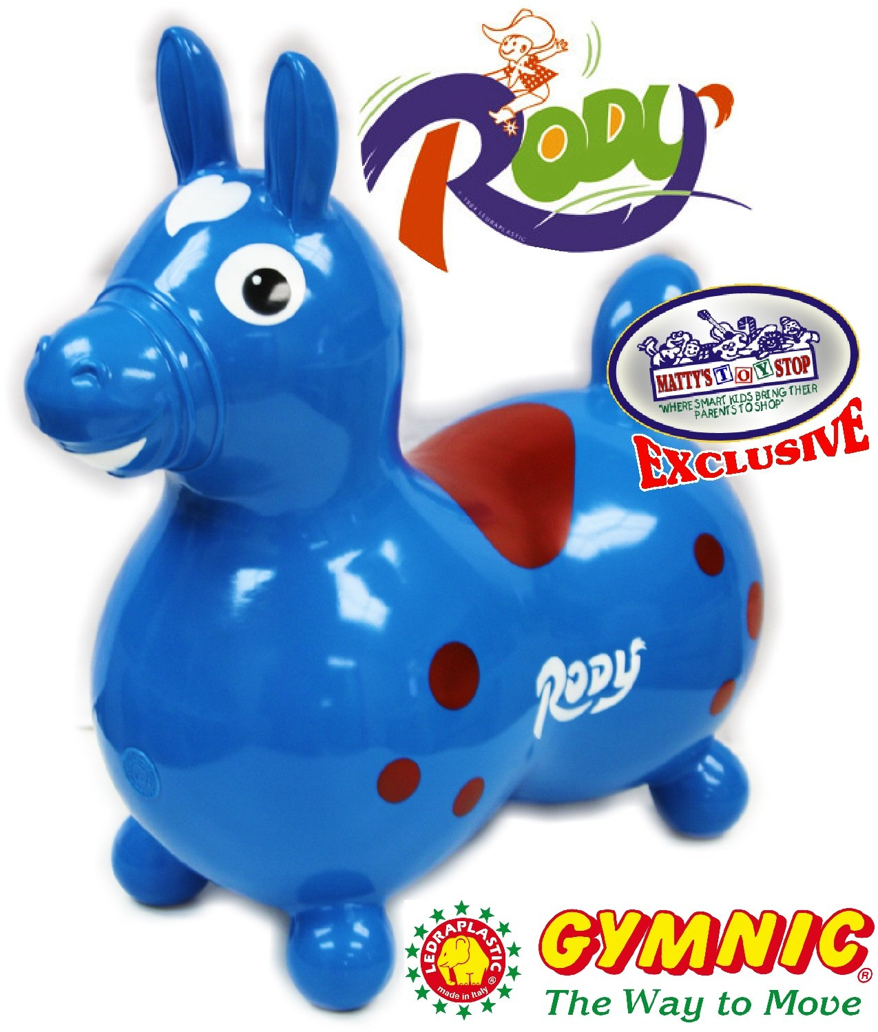 Gymnic Rody Horse Inflatable Bounce & Ride, Matty's Toy Stop Exclusive Blue & Red (7024)
