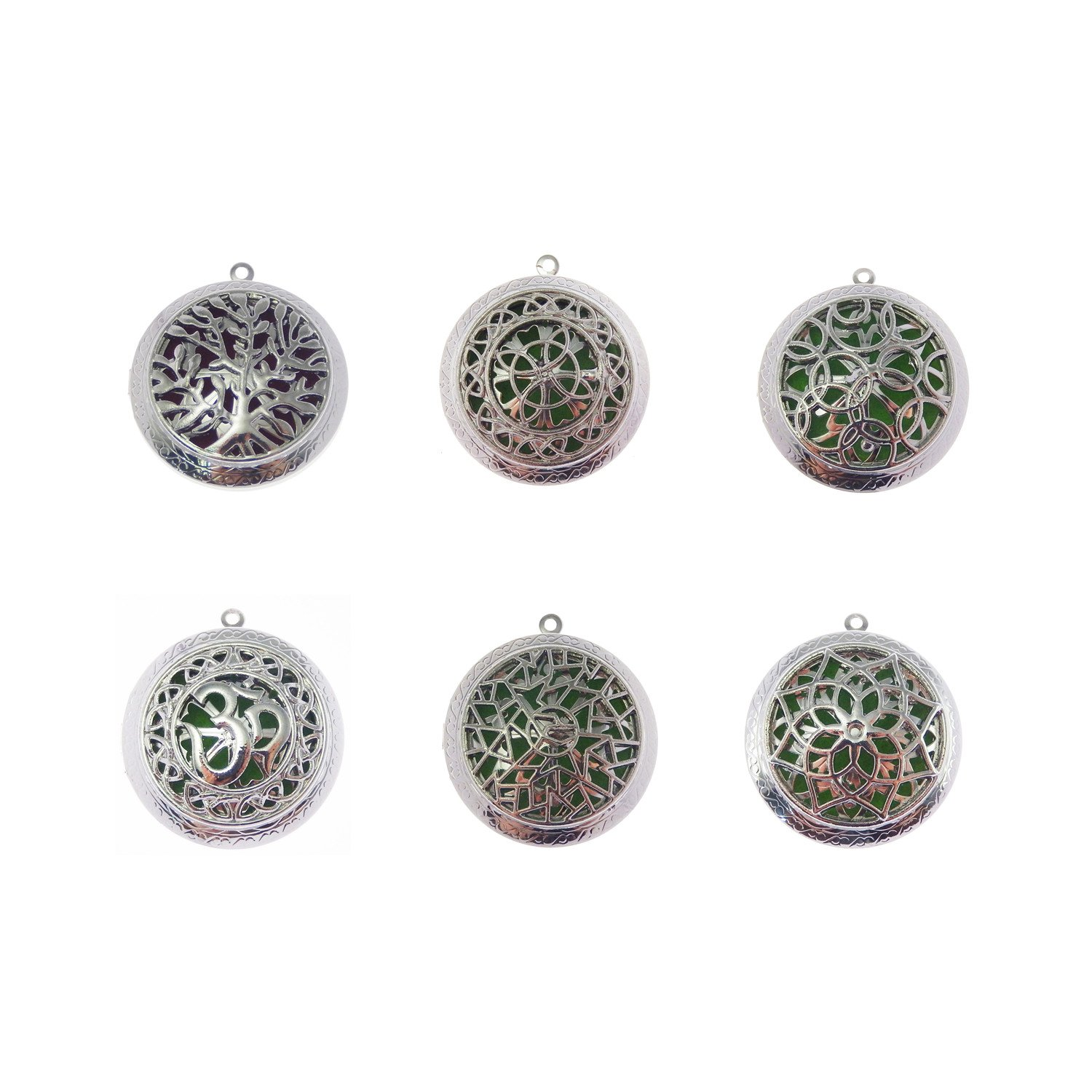 GraceAngie 6PCS Mix Round Vintage Silver Locket Essential Oil Aromatherapy Diffuser Pendant Charms Necklace Jewelry Making