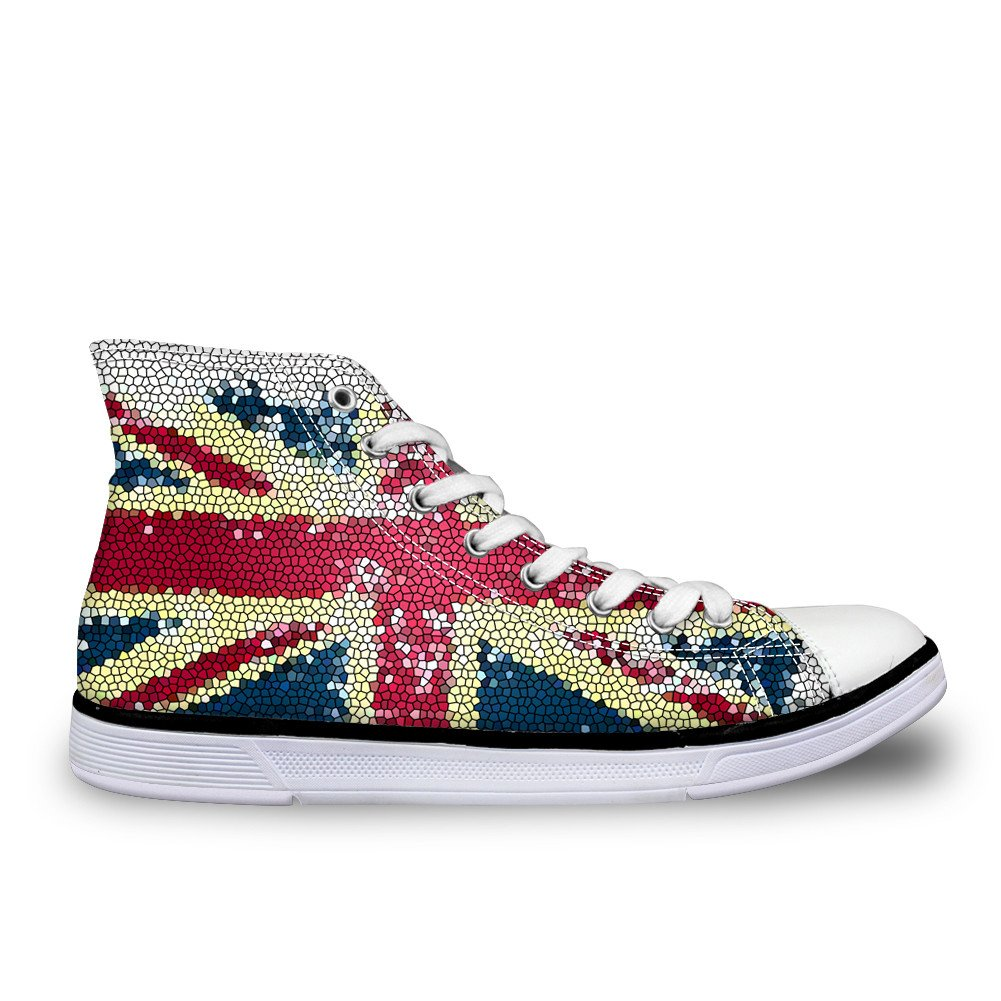 CHAQLIN US UK Flag Star Casual Canvas Shoes Unisex High Top Lace up Flat Fashion Sneakers Unisex US 12 B(M)=EUR 45|Ca5444ak