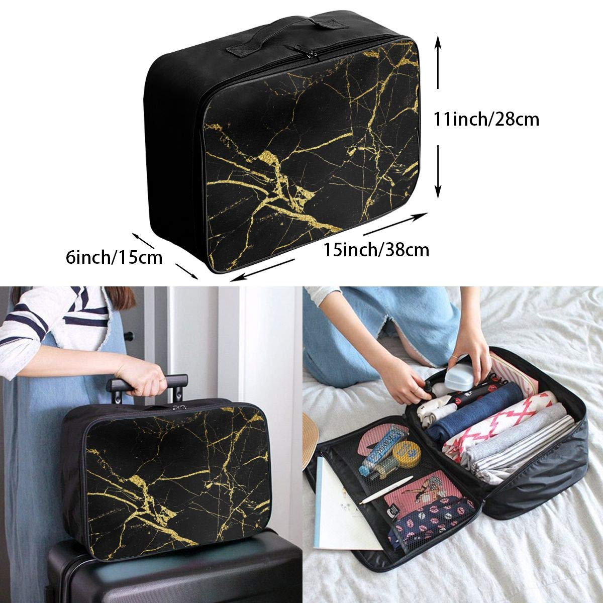 Men /& Women Chic Black And Gold Marble Texture Portable Luggage Duffel Bag Lightweight Large Capacity Travel Bags Carry-on In Luggage Handle