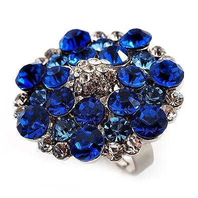 Avalaya Silver Tone Dark Blue/Clear/Turquoise Coloured Diamante Cocktail Ring (Adjustable Size 7/8) - 3cm Diameter HZz5qaLU