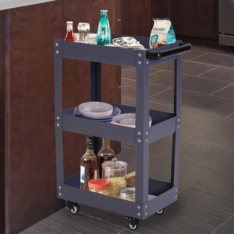 HOMCOM Carrito de Cocina, baño, Taller Porta Herramientas con 3 estantes de Metal, Color Negro: Amazon.es: Hogar