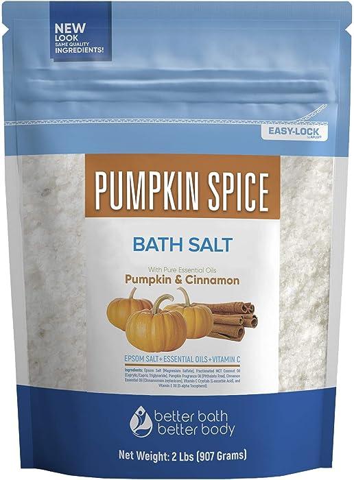 Pumpkin Spice Bath Salt 32 Ounces Epsom Salt with Pumpkin Spice Fragrance Oil and Cinnamon Essential Oil Plus Vitamin C and All Natural Ingredients