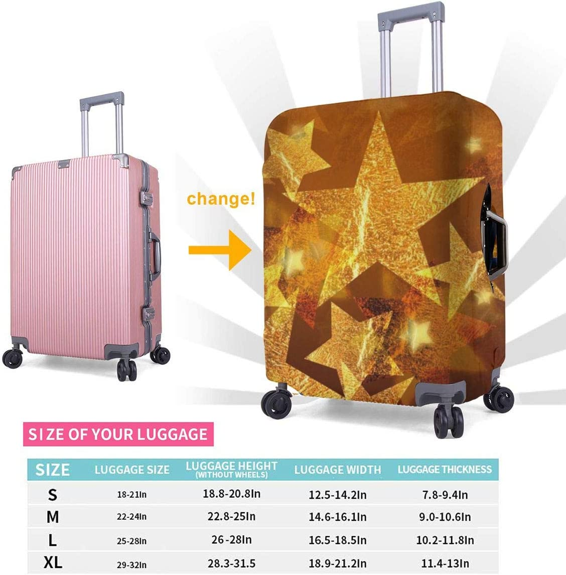 Travel Luggage Cover Suitcase Protector Spandex Washable Zipper Baggage Covers Stars 5 Pointed Geometric Shapes Fits 18 To 32 Inch