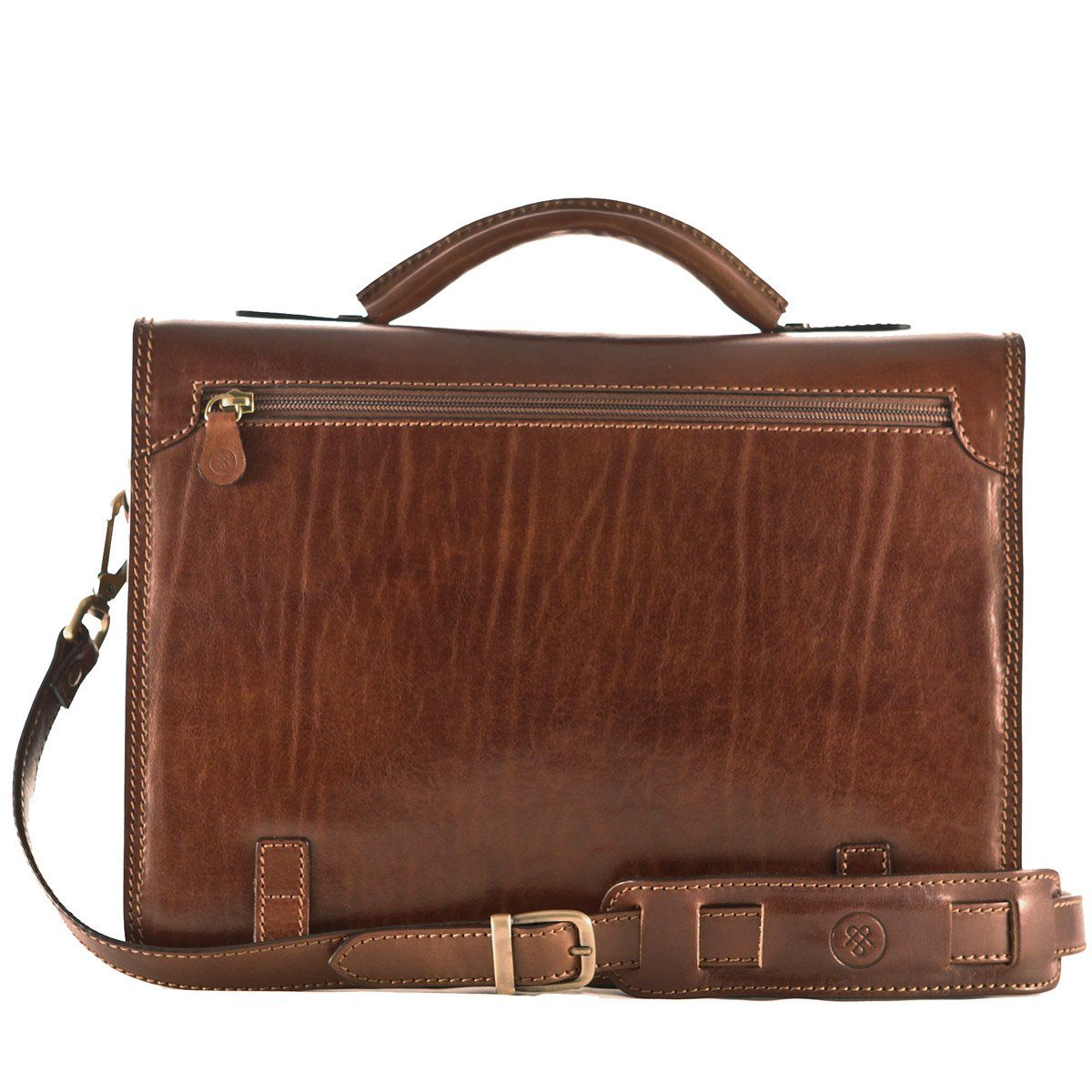 Maxwell Scott Personalized Luxury Tan Mens Leather Satchels (The Battista) - One Size by Maxwell Scott Bags (Image #5)