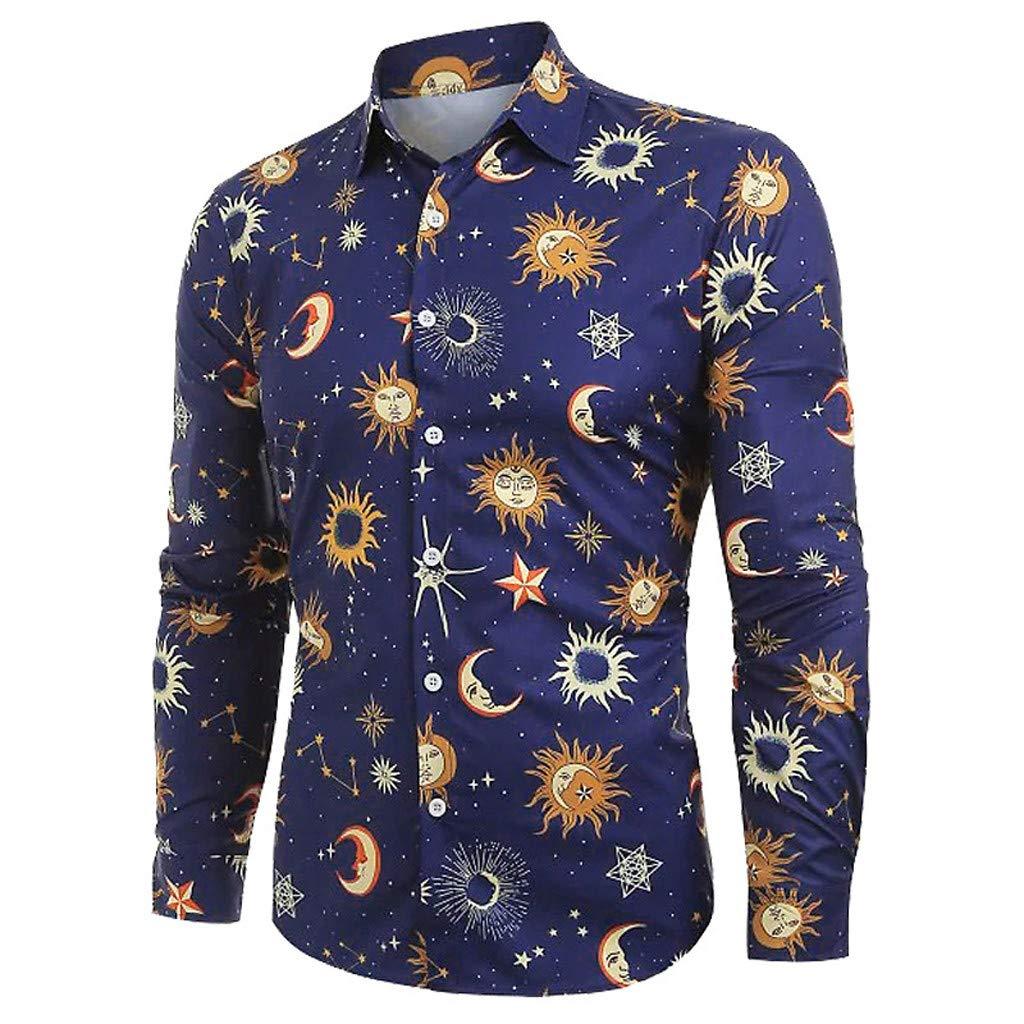 Dark Blue S//M//L//XL NOBOOK+H Dress Shirt for Men Slim Cartoon Print Casual Shirt
