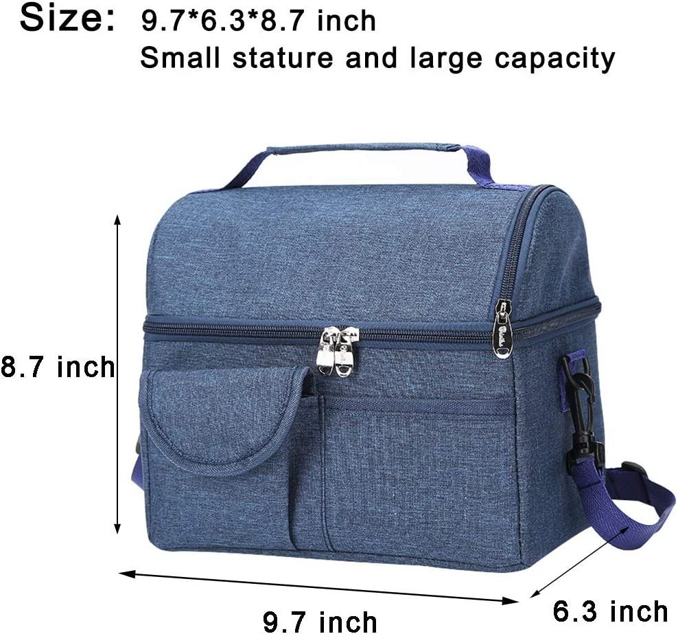 Insulated Cooler Bag with Shoulder Strap Large Lunch Box Leakproof Lunch Container Office Tote Bag Soft Lunch Pail for School Blue GUANCANGHAI Dual Compartment Reusable Lunch Bag for Women Men