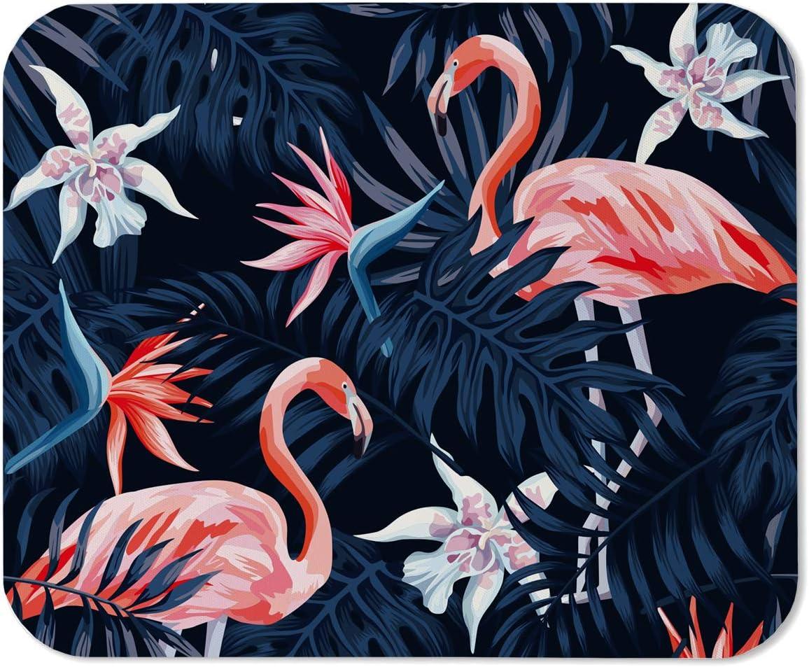 Alfombrilla para Ratón Yeuss Alfombrilla Rectangular Antideslizante, Pájaro Tropical Flamenco Rosado Flor Exótica Ave del Paraíso Azul Oscuro Hoja De Palma Fondo Negro Azul Rosado,