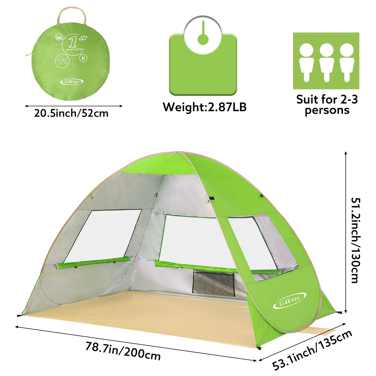 G4Free Pop Up Beach Tent 2-3 Persons Portable Beach Sun Shelter Instant Tents UPF 50 UV Protection Outdoor Camping Cabana for Family