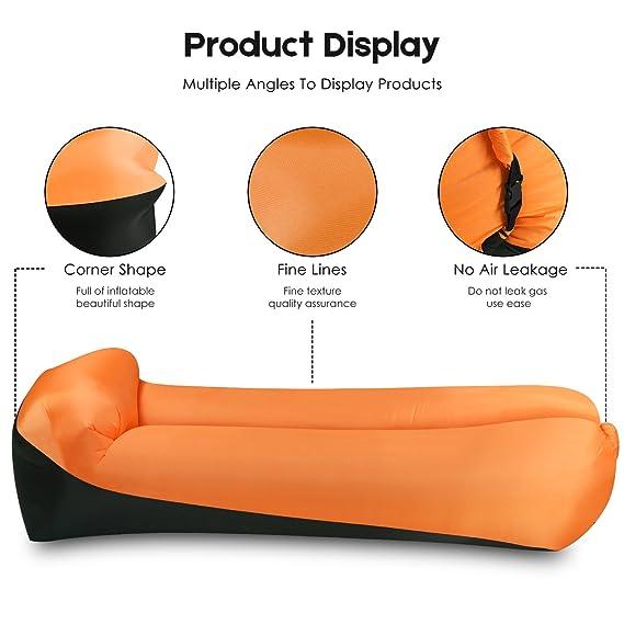 EooCoo Sofá inflable portable, sofá al aire libre del aire para acampar, parque, playa, patio trasero, pesca, nadando - Amarillo: Amazon.es: Deportes y aire ...
