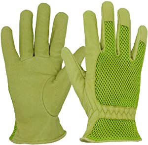 HANDLANDY Leather Gardening Gloves for Women, 3D Mesh Comfort Fit- Improves Dexterity and Breathability, Pigskin Scratch Resistance Garden Yard Working Gloves (Large, Green)