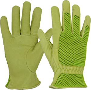 HANDLANDY Leather Gardening Gloves for Women, 3D Mesh Comfort Fit- Improves Dexterity and Breathability, Pigskin Scratch Resistance Garden Yard Working Gloves(Small, Green)
