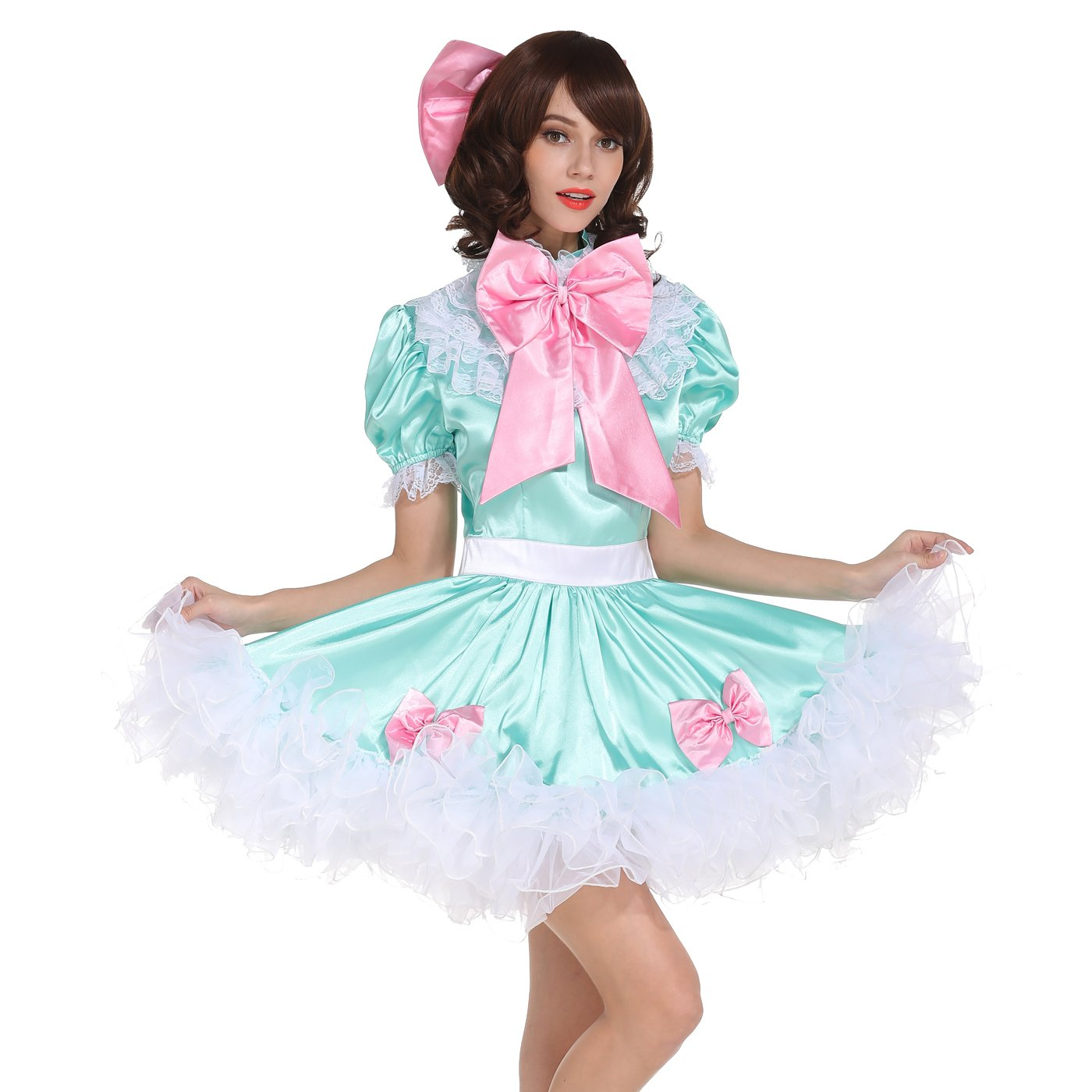 GoceBaby Sissy Girl Lockable Maid Bow Dress Stain Puffy Crossdress Transgender