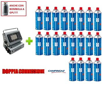 Estufa estufa a gas portátil doble casquillo GPL/Butano + 20 cartucho original Campingaz (
