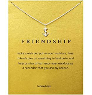 24666713364ac8 Hundred River Friendship Clover Necklace Unicorn Good Luck Elephant Necklace  with Message Card Gift Card for