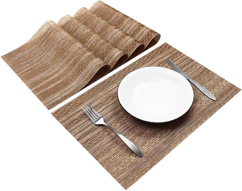 Sweet Elegance [Set of 4] Woven Texture Placemat Table Mat Durable Washable Reusable Heat Resistant and Stain Resistant PVC Placemats for Kitchen Restaurant Dining Table (Coffee)