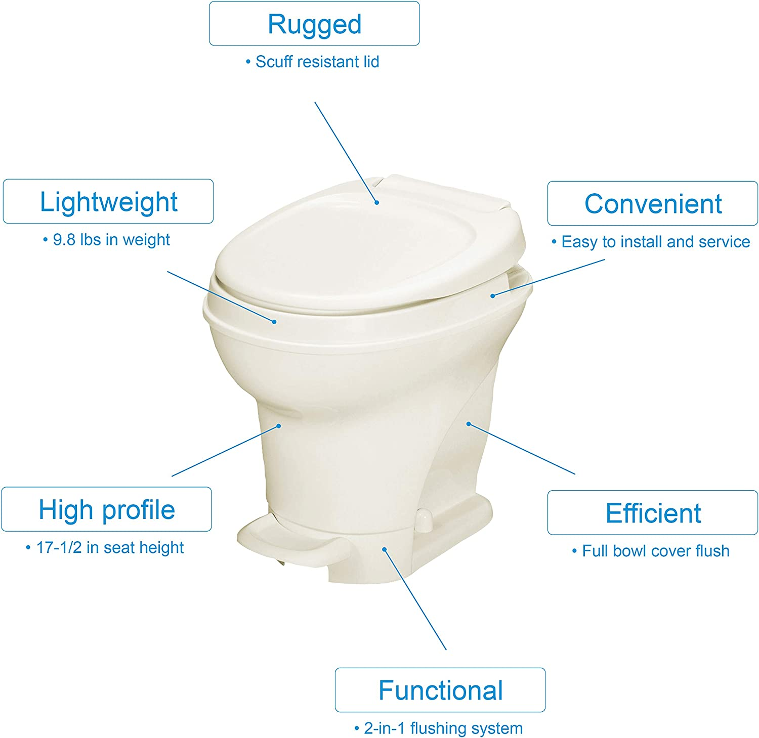 Thetford Aqua-Magic V RV Toilet-High Profile-Parchment Color-Hand Sprayer-Pedal Flush 31680