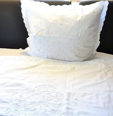 Bettbezug Bergamo Nostalgie Shabby Landhaus wei/ß Hossner 1 Stck Gr/ö/ße Bettw/äsche:135 x 220 cm