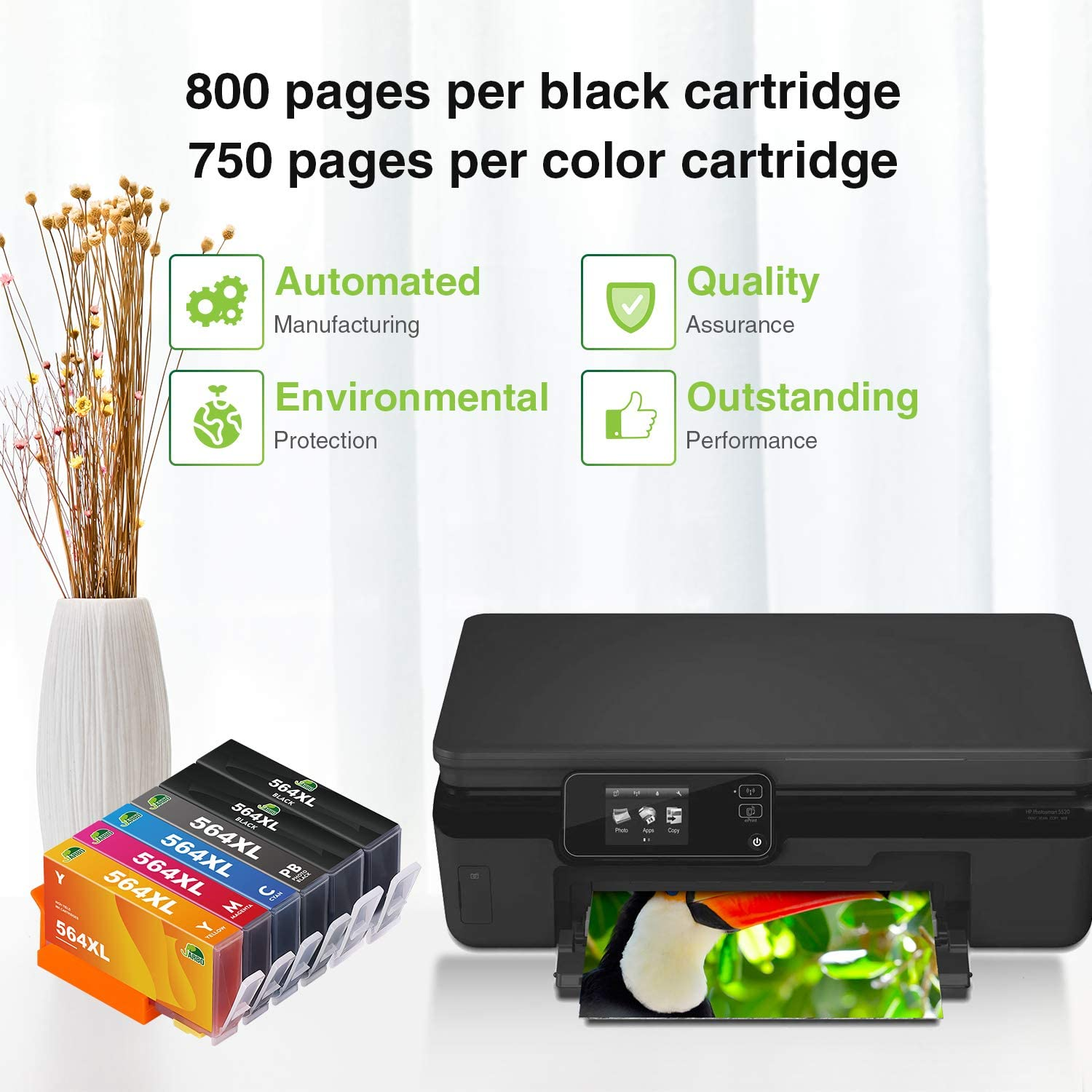 4 Black 2 Cyan 2 Magenta 2 Yellow JARBO 4 Color Replacement for Hp Printer 564XL Ink Cartridge High Yield 10 Pack Compatible with HP Photosmart 5520 6520 6510 7510 7520 7515 C6380 C310a
