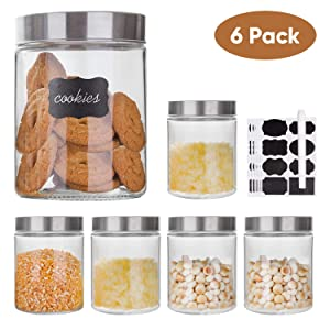 Glass Storage Jars with Stainless Steel Lids For The Kitchen,Set of 6,27 oz