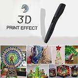 LESHP - 4ªGeneración Ligero Impresora Pluma Lapiz 3D para dibujos 3D con pantalla LED + 3ABS Velocidad Ajustable, negro