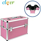 "Pro Large 19"" Aluminum Make Up Artist Cosmetic Travel Hard Case Studio Pink"
