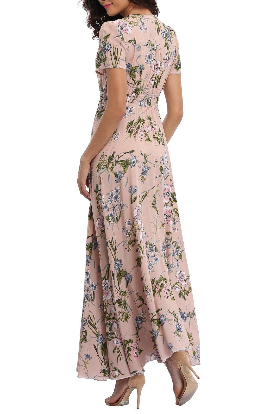 VintageClothing Women's Floral Print Maxi Dresses Boho Button Up Split Beach Party Dress,Pale Dogwood,Large by VintageClothing (Image #5)