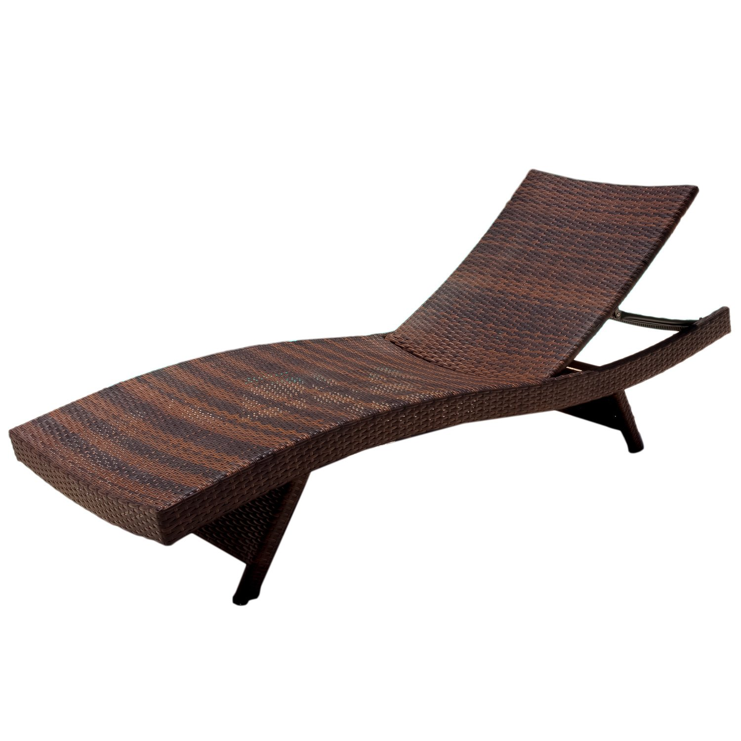 Amazon Best Selling Outdoor Adjustable Wicker Lounge Brown