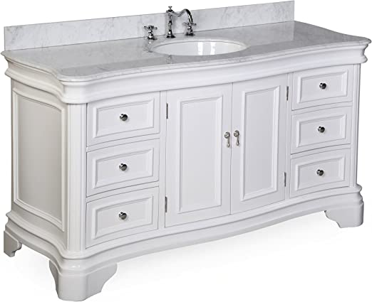 Kwiqq Bathroom Furniture Set 60 x 46 cm Washbasin Washstand Cabinet White High Gloss