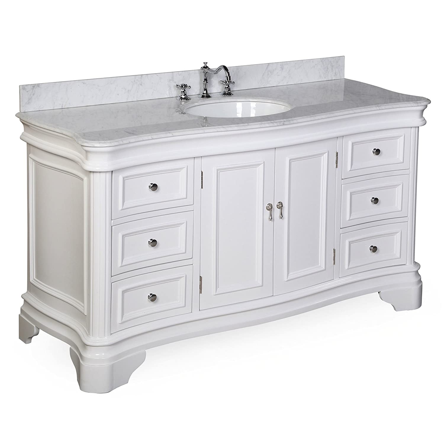Katherine 60-inch Single Vanity Carrara White Includes White Cabinet with Authentic Italian Carrara Marble Countertop and White Ceramic Sink