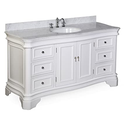 Kitchen Bath Collection KBC A601WTCARR Katherine Single Sink Bathroom Vanity  With Marble Countertop, Cabinet