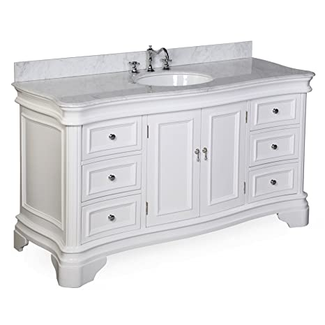 Katherine 60 Inch Single Vanity Carrara White Includes White Cabinet With Authentic Italian Carrara Marble Countertop And White Ceramic Sink