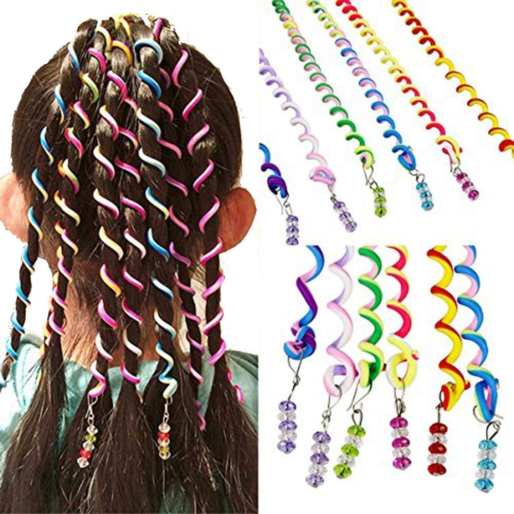 Haolong Girls 12 Pcs Hair Twist DIY Tool Stylish Hair Accessories with Beads Multicolor