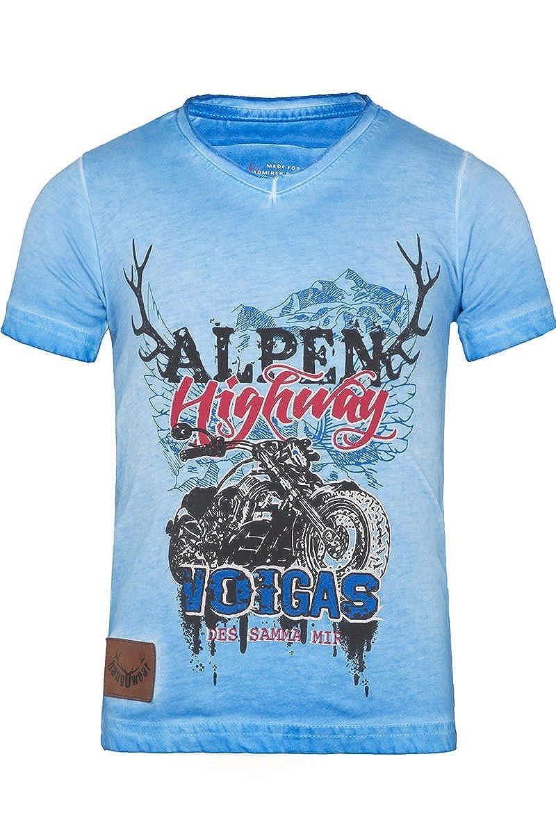 Hangowear Jungen Kinder Trachten T-Shirt mit Motorrad blau, BLAU, ULRICO KIDS