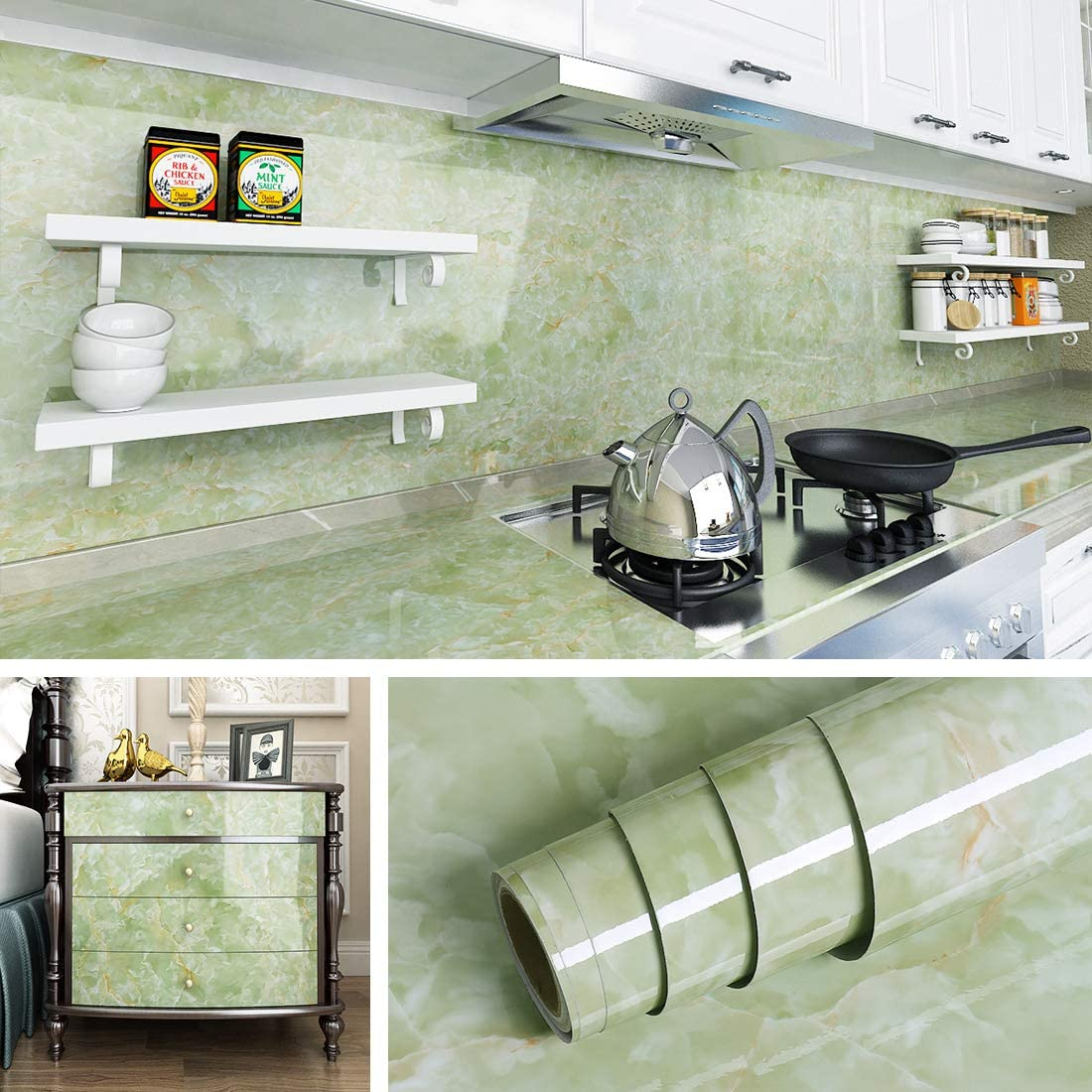 Livelynine Marble Wall Paper Roll Kitchen Wallpaper Stick and Peel Marble Vinyl Bathroom Counter Top Cover Instant Granite Countertop Kitchen Table Cover,Emerald Marble 15.8x78.8 Inches